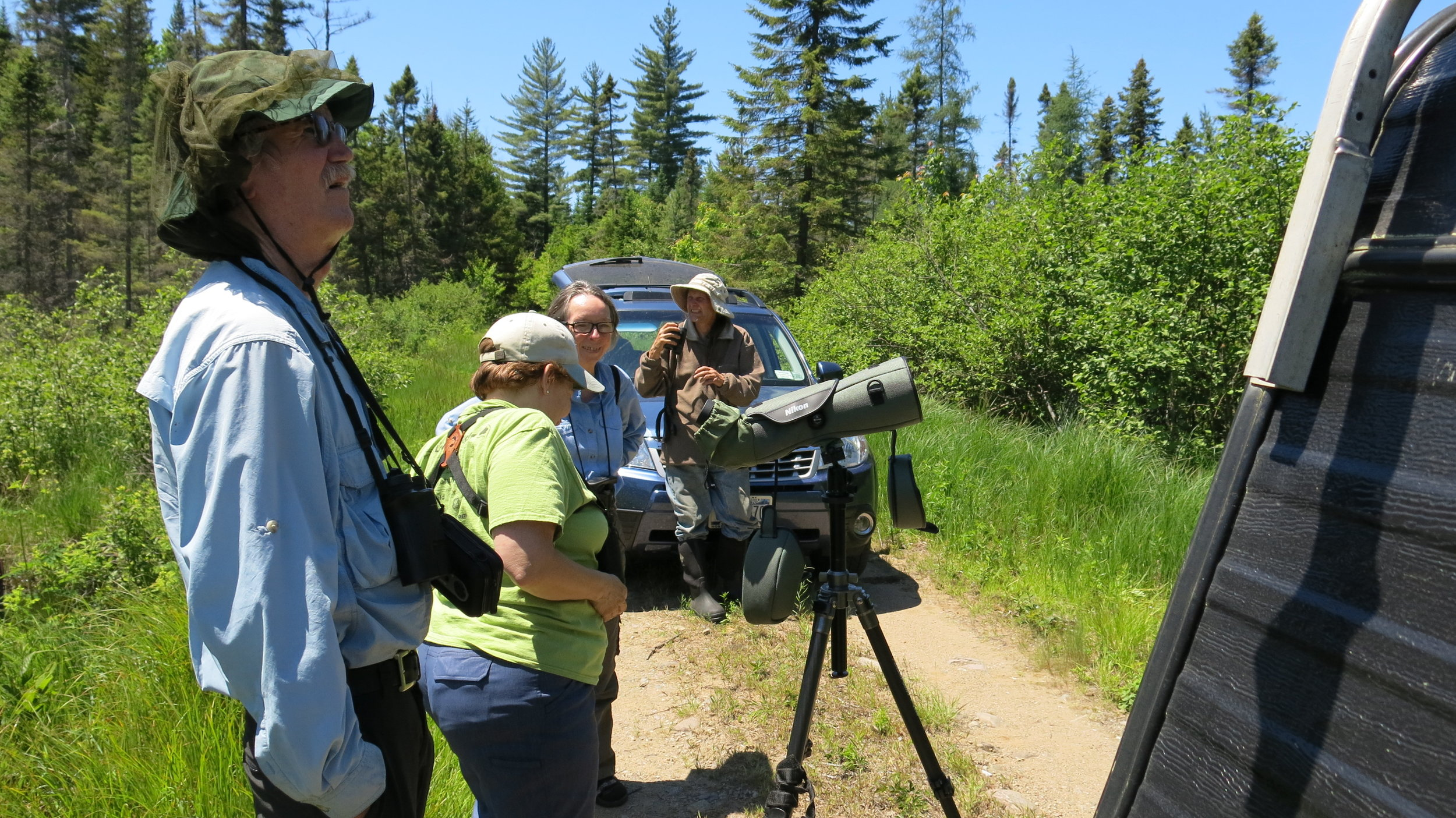Members of Northern New york audubon visiting during the spring 2014 bird surveys.
