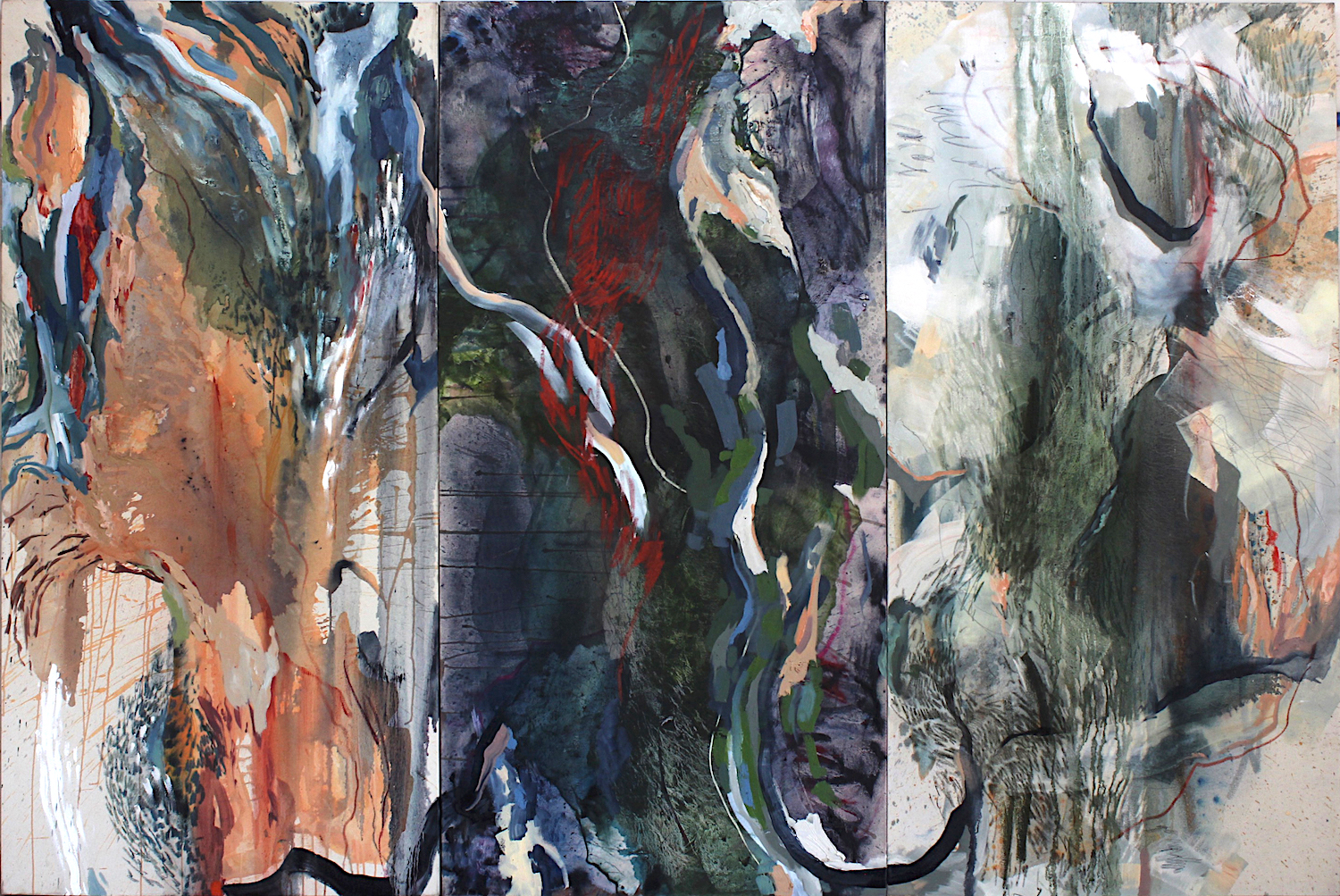 Mapping Umwinsi  2016 Oil and Soft Pastel on Canvas 240 x 160 cm (triptych)