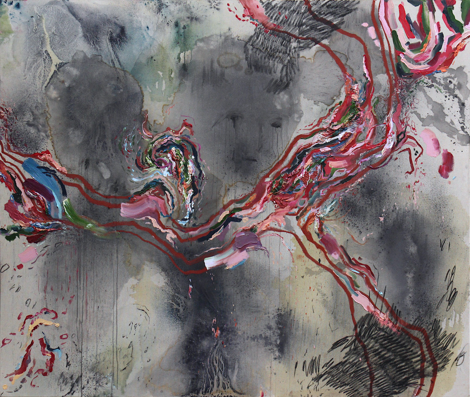 Uprooting  2017 Oil, Ink, Graphite and Soft Pastel on Canvas 160 × 190 cm