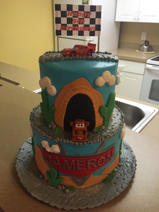 Cam's Cars cake by Enticing Cakes based in Orlando