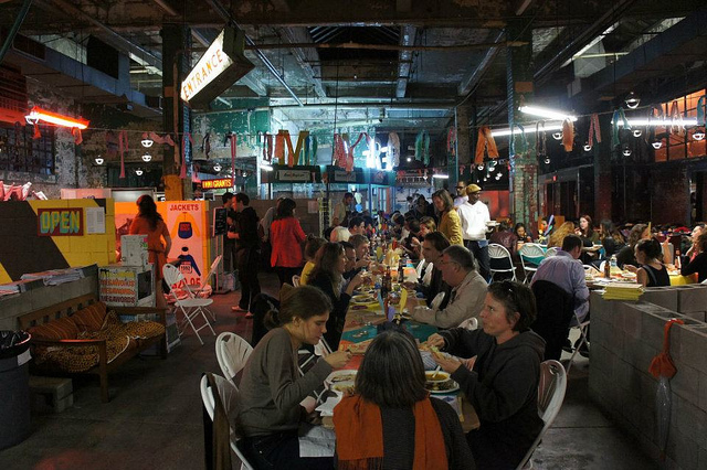 """International Soup/ Stake event at Creative Time's """"Living as Form"""" exibihition"""
