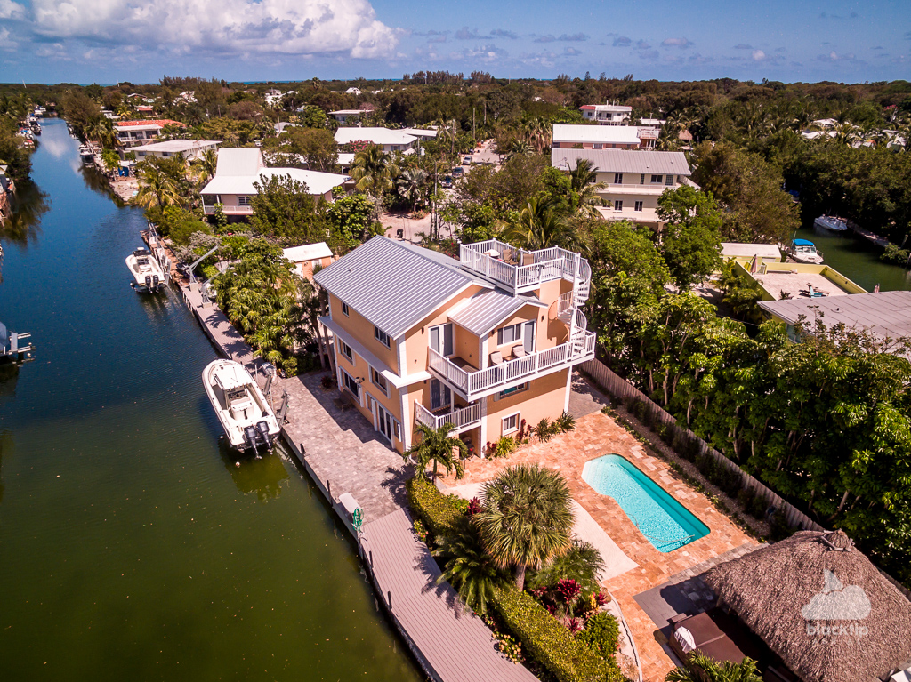 Canal front real estate aerial photo and video Florida Keys