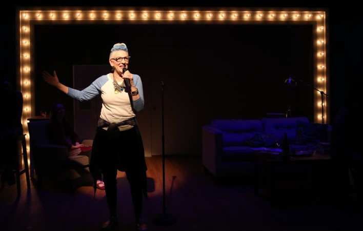 Lisa Lampanelli gives a stand up performance within the show