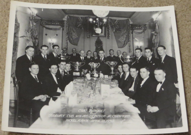 Sudbury Wolves 1932 Memorial Cup dinner. Toe Blake is top row, third from the right (Photo:  Hockey Gods )