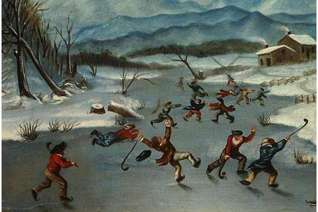 John O'Toole 1835 painting of a game of hockey (Photo:  Vancouver Sun )