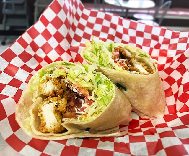 Our special today is this delicious Chicken Club Wrap! Made with your choice of grilled or crispy chicken, lettuce, tomato, bacon, and mayo!