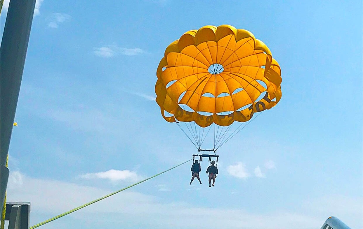 Parasailing on the channel