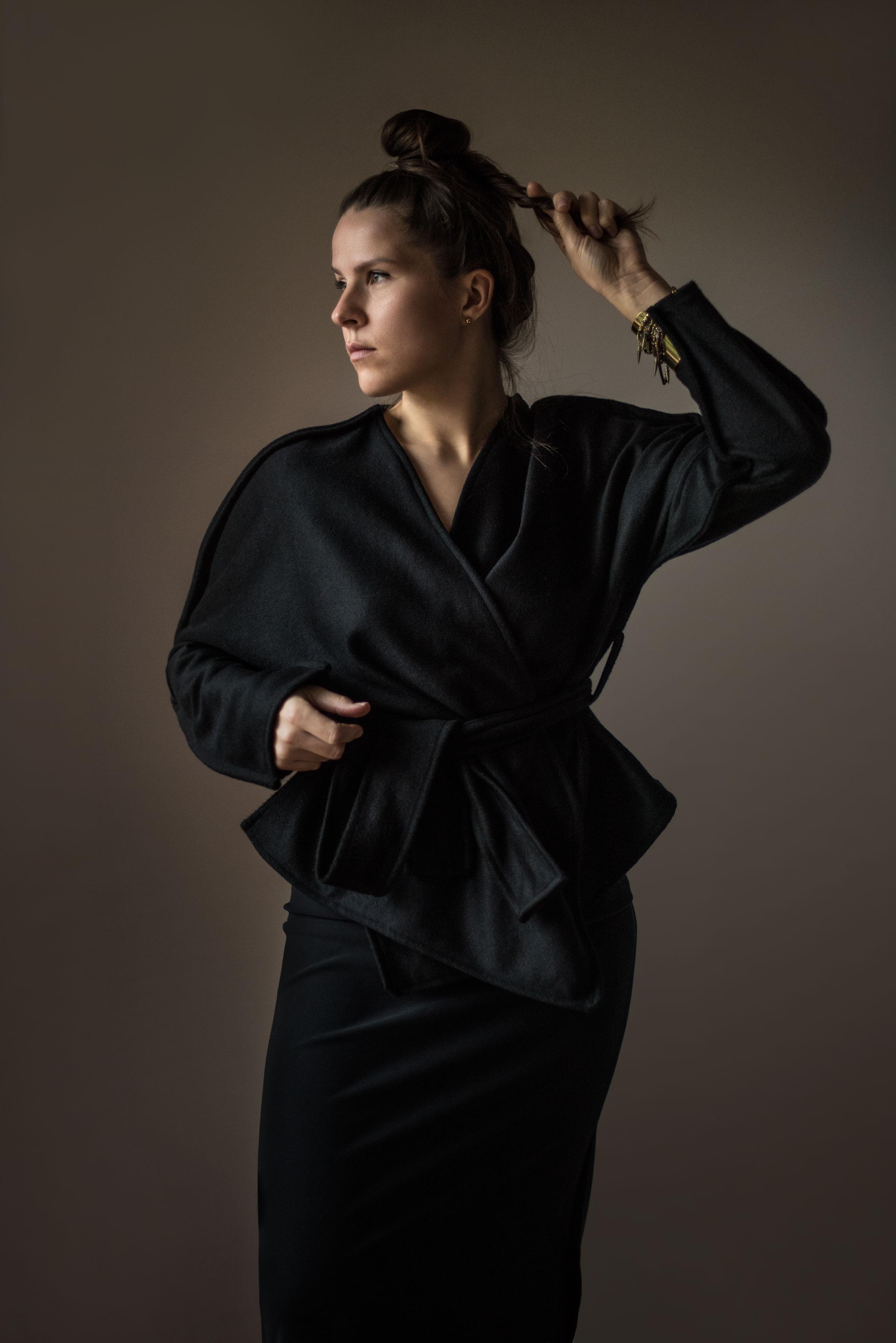 Ieva Gedvygaite in Cashmere Kimono by ieva.studio