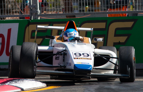 Driver Will Brown in action on the streets of Homebush. Brown stormed to second place in Race 1 - pic supplied F4
