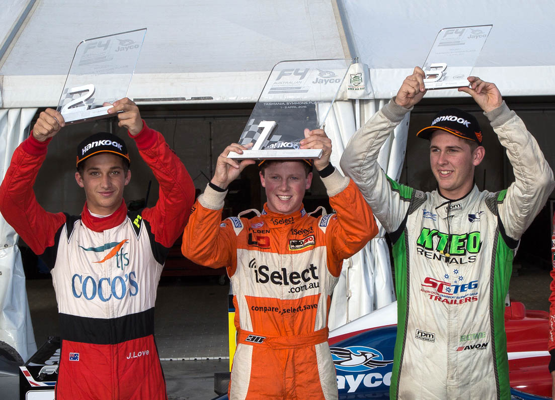 Will Brown shows his trophy for Round 1 of the Australian F4 championship