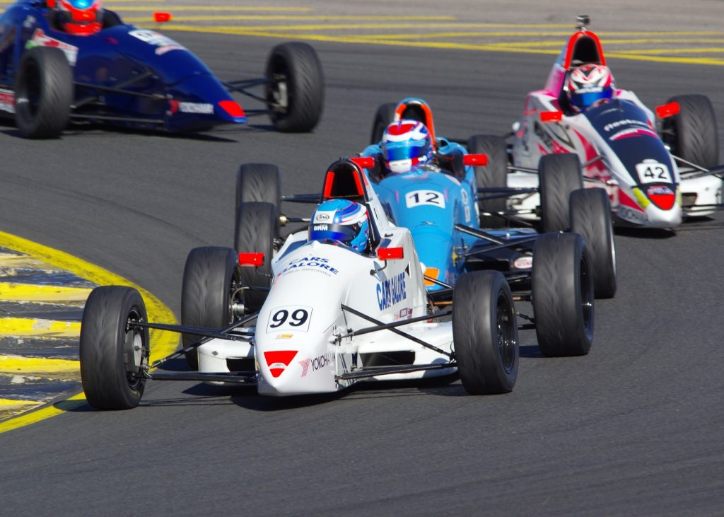 Will Brown is seen competing at Sydney Motorsport Park in the Australian Formula Ford Championships. Brown claimed all three race wins.