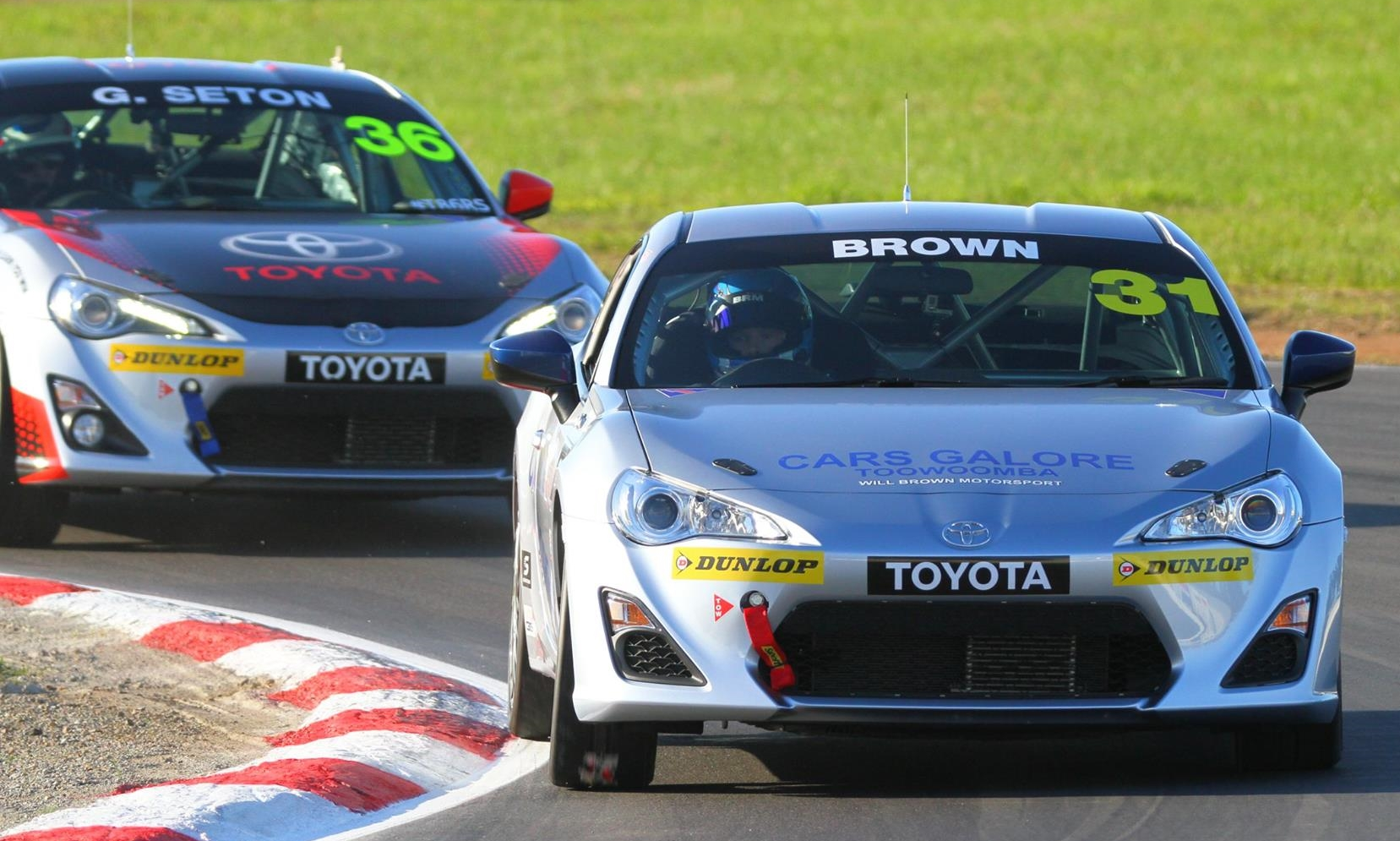 Cars Galore driver Will Brown shows a clean pair of heels to 2X former Australian Touring Car Champion Glenn Seton, during the Toyota 86 race at Winton