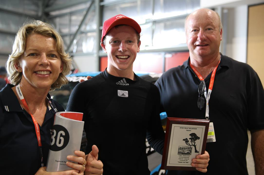 Will Brown is seen with parents after taking out the 2016 Australian Toyota 86 Championships.