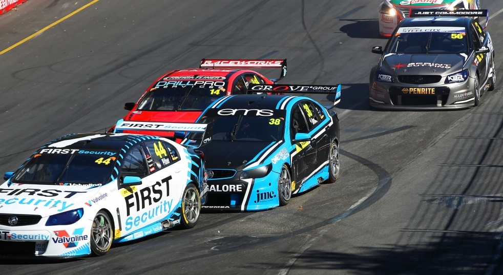 Will Brown is seen in battle with Chris Pither during the 2018 Adelaide 500