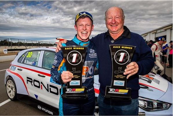 Will Brown is seen with his father Shane after taking victories at Winton - pic supplied by TCR Australia