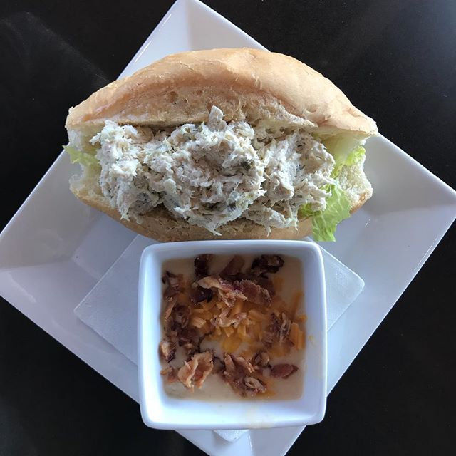 Try our lunch special today! Chicken Salad on a sub roll with a side of soup! Our soup of the day is loaded baked potato 🤤🧀🥔 #soup #chickensalad