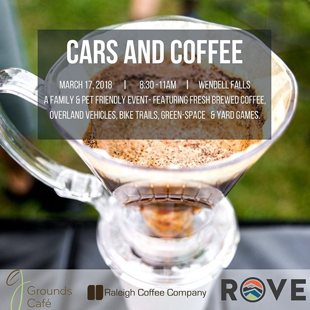 Woo! It was a long week with this crazy weather. Join us tomorrow for Cars & Coffee and St Patrick's Day Shenanigans! #cars #coffee @raleighcoffeeco @wendellfallsnc @roverentals