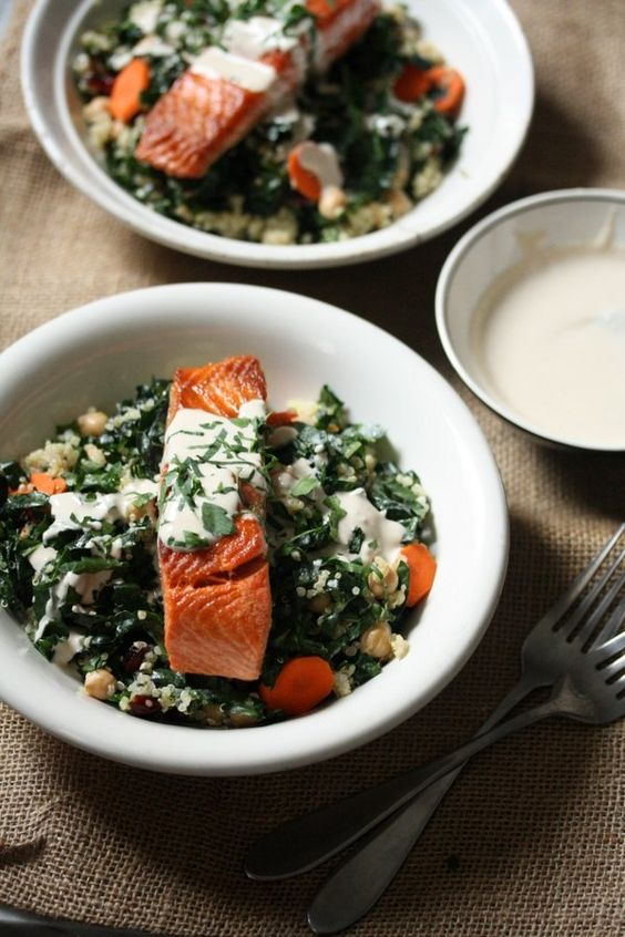 http://tastykitchen.com/recipes/main-courses/salmon-and-quinoa-bowls-with-kale-and-tahini-yogurt-sauce/