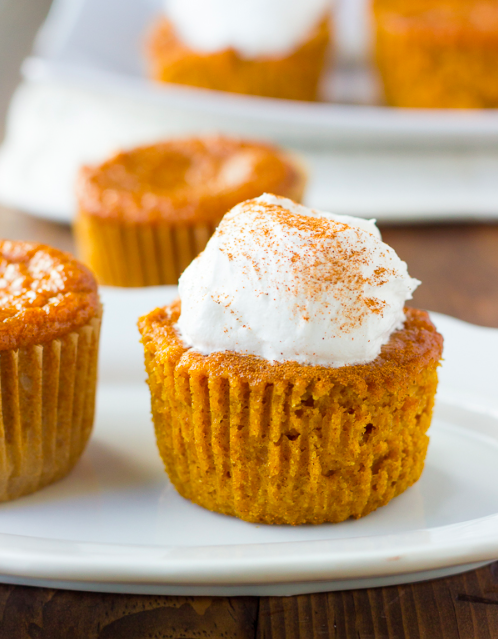 gluten-free crustless pumpkin pie cupcakes {dairy-free}  Recipe available at:http://meaningfuleats.com/gluten-free-crustless-pumpkin-pie-cupcakes-dairy-free/