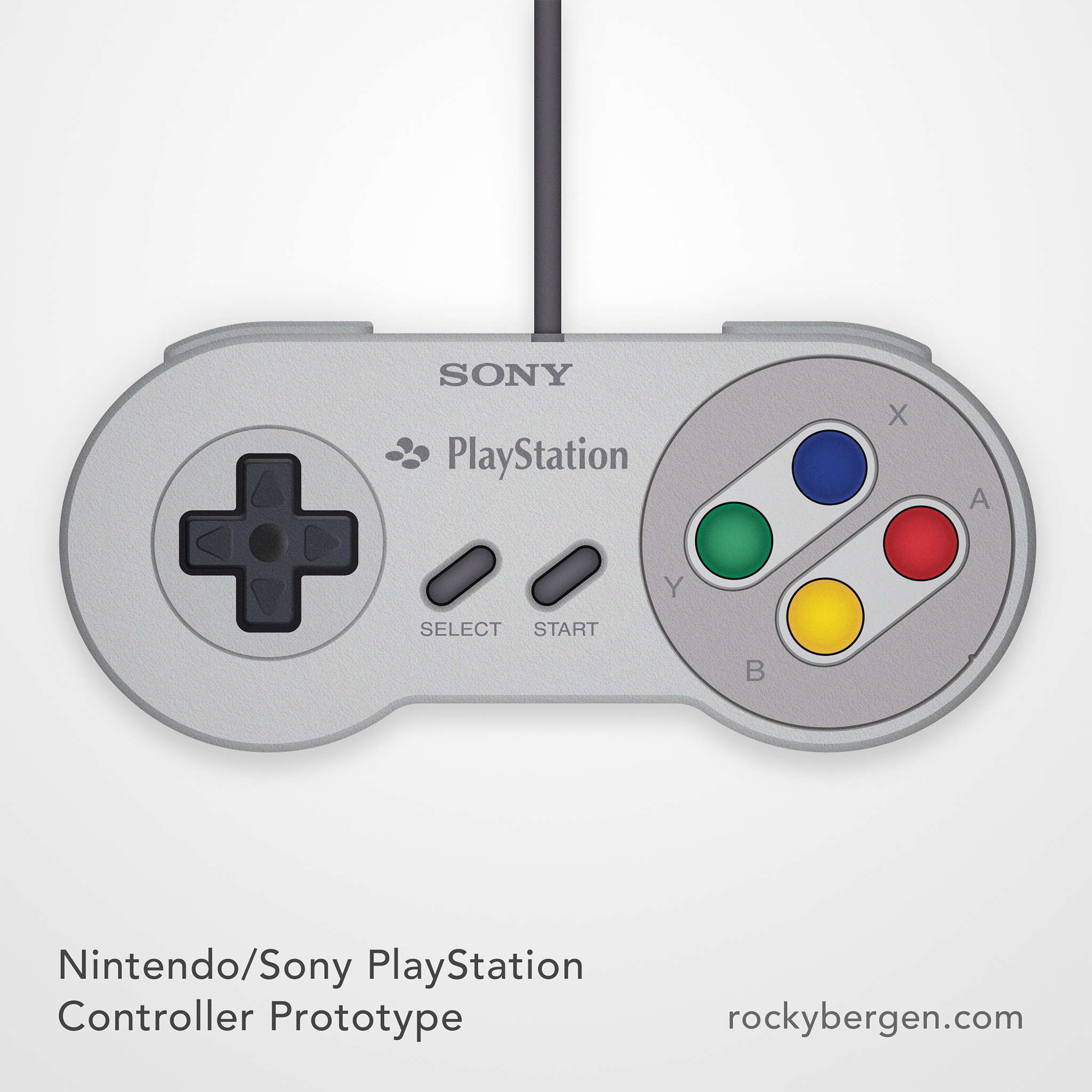 A surreal mashup of branding on the iconic Super Famicom controller hints at a reality that never would be.