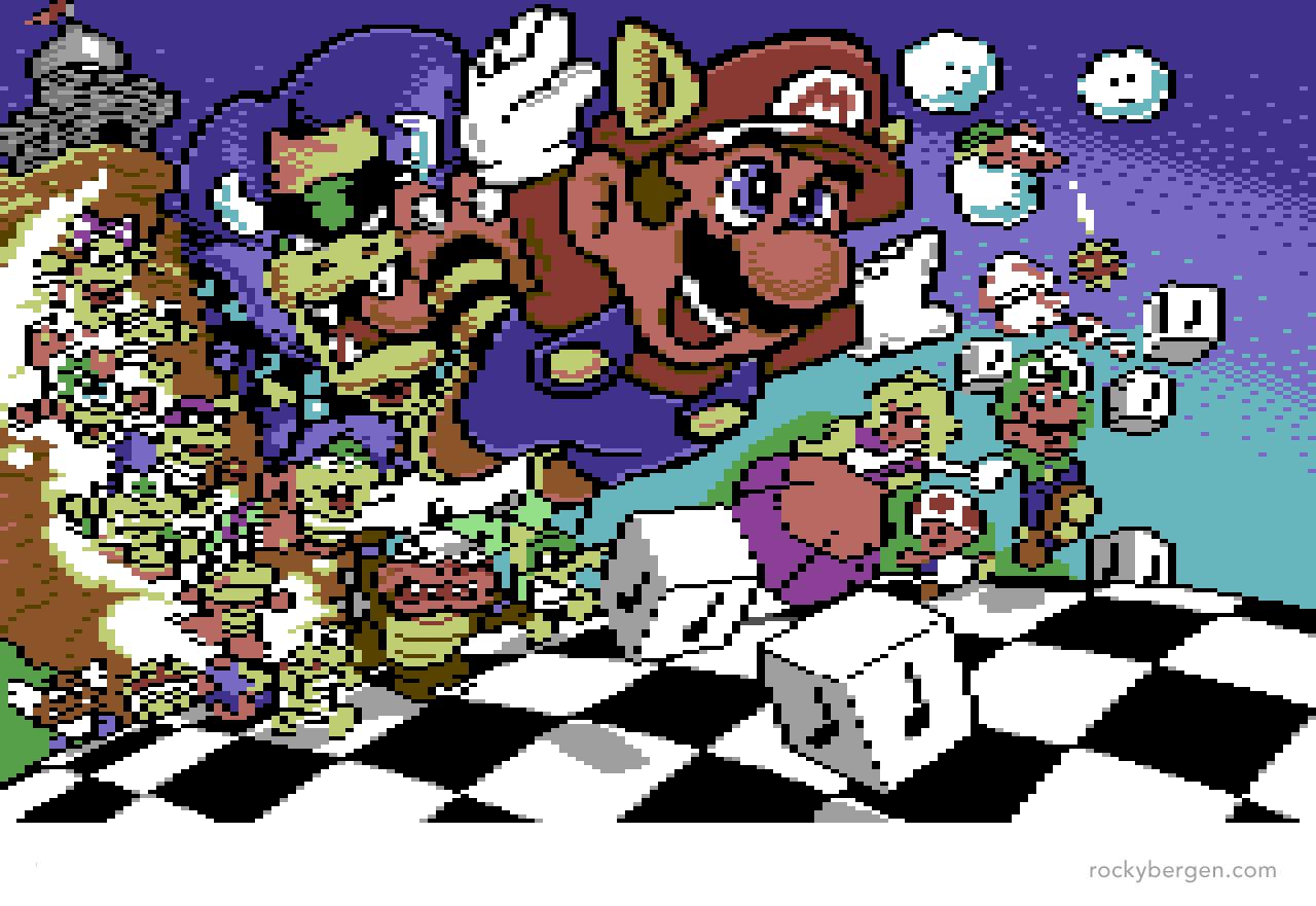 Commodore 64 Super Mario Bros 3 Loader Graphic Rocky Bergen