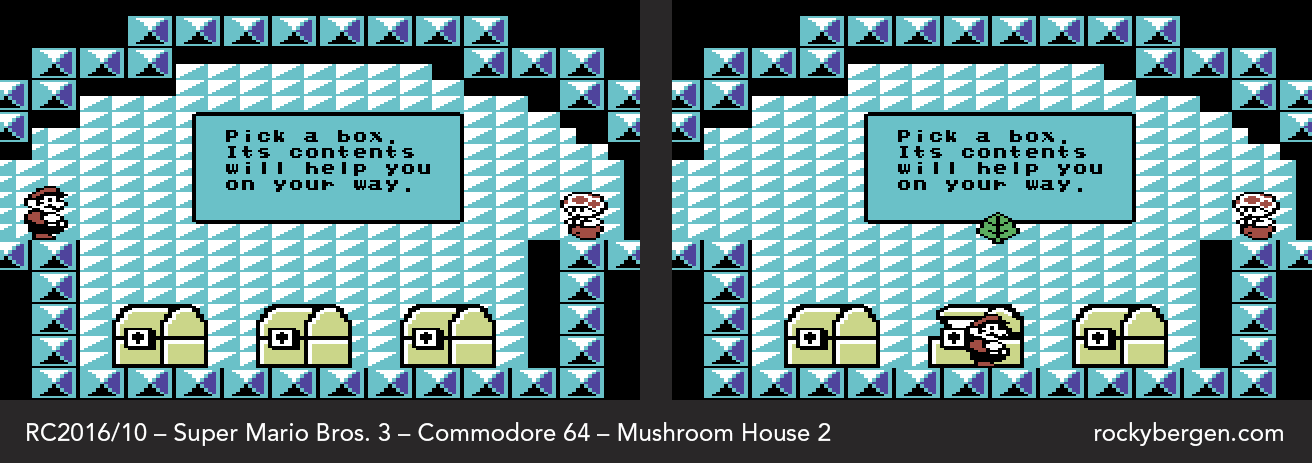 Mario meets Toad once again in the second Mushroom House.