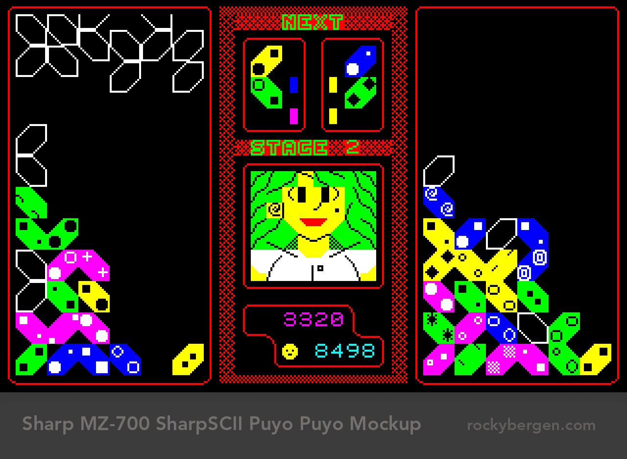 Puyo Puyo, also known as Dr. Robotnik's Mean Bean Machine and Kirby's Avalanche, mocked up for the Sharp MZ-700.