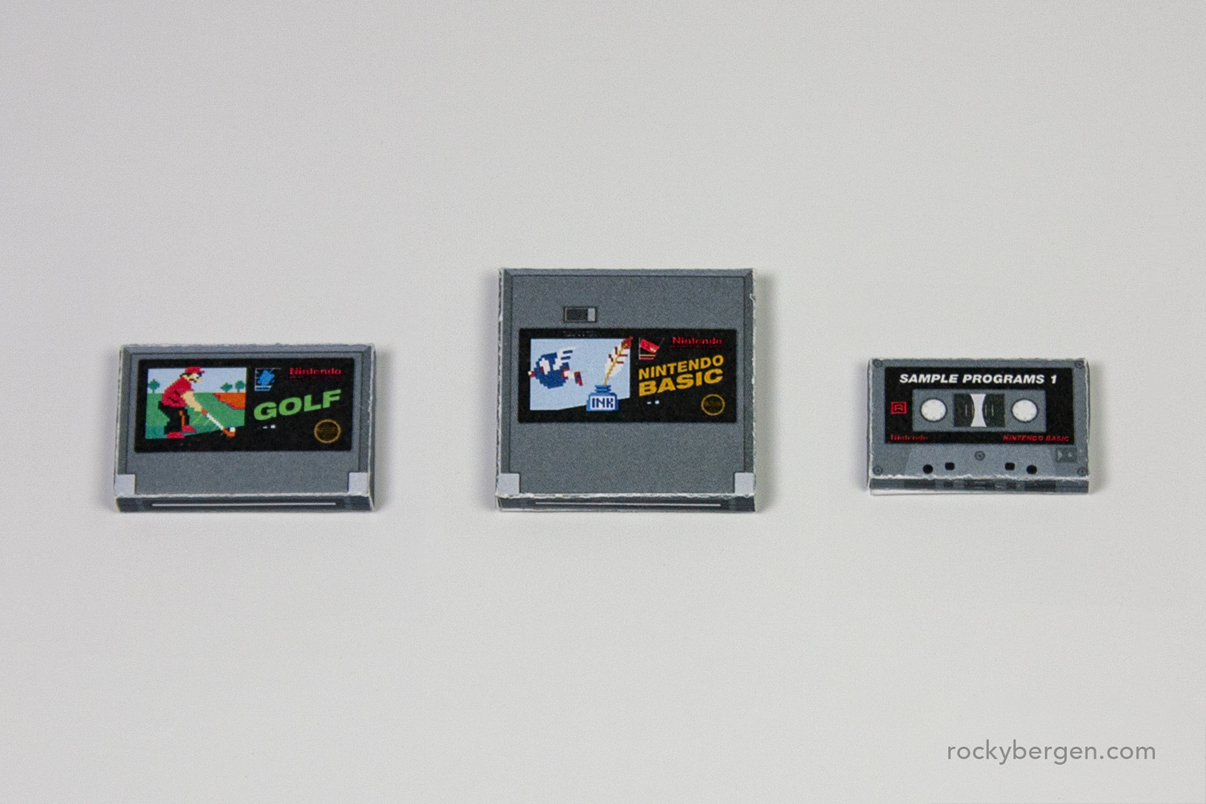 Famicom carts mocked to match the NES cart colours and artwork seen on early releases.