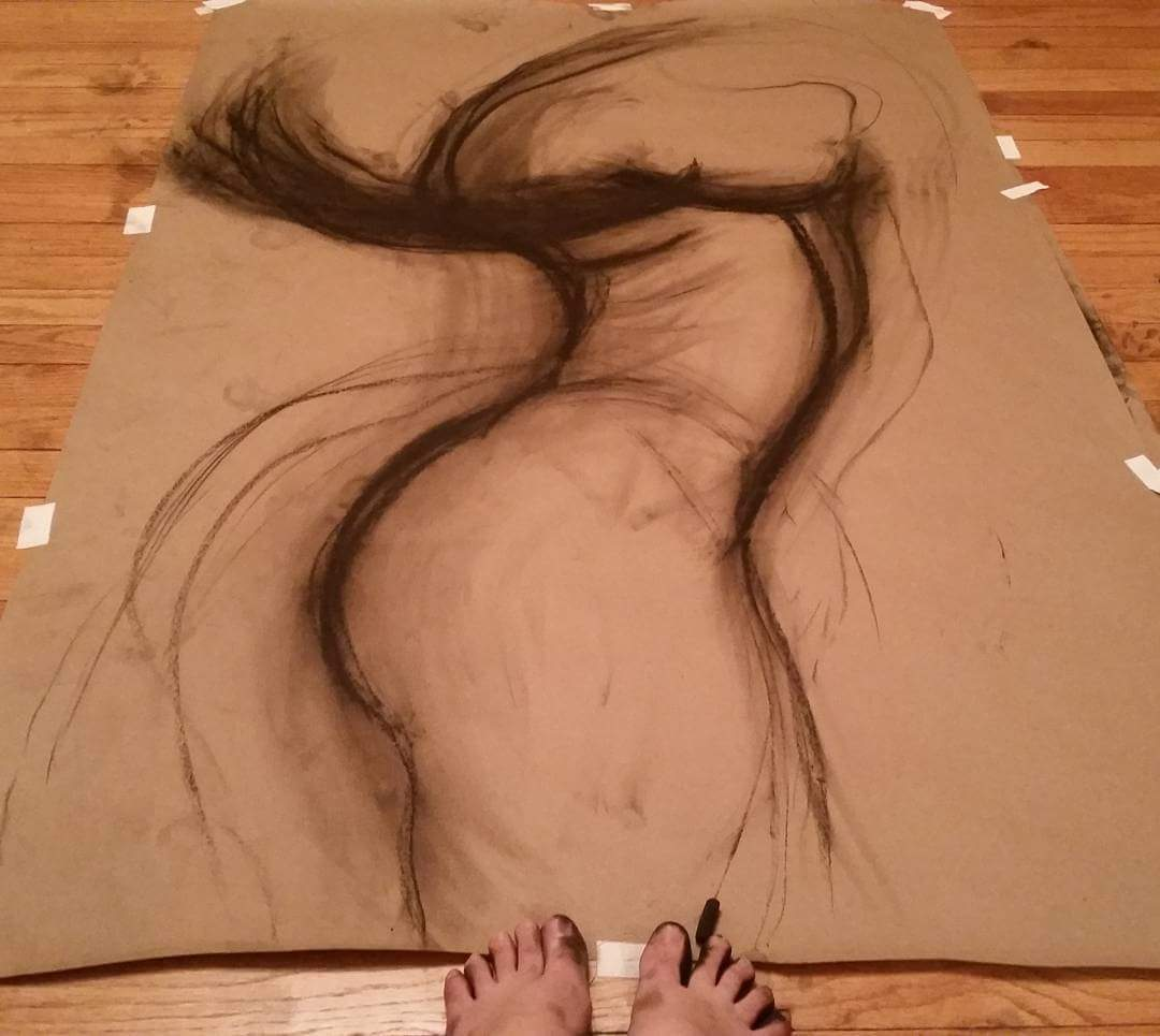 Form- Charcoal Foot Drawing