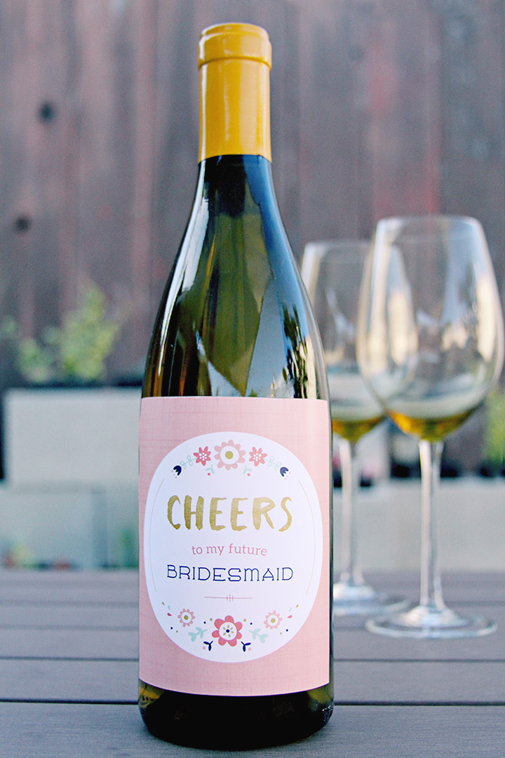 wine bottle bridesmaid proposal