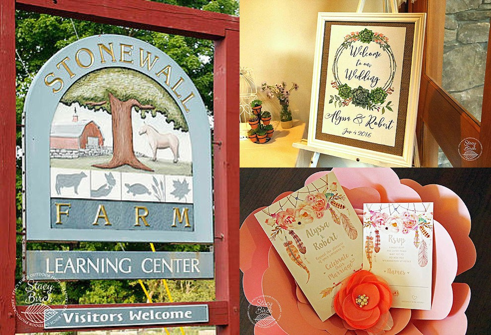 stonewall farm sign and wedding welcome sign