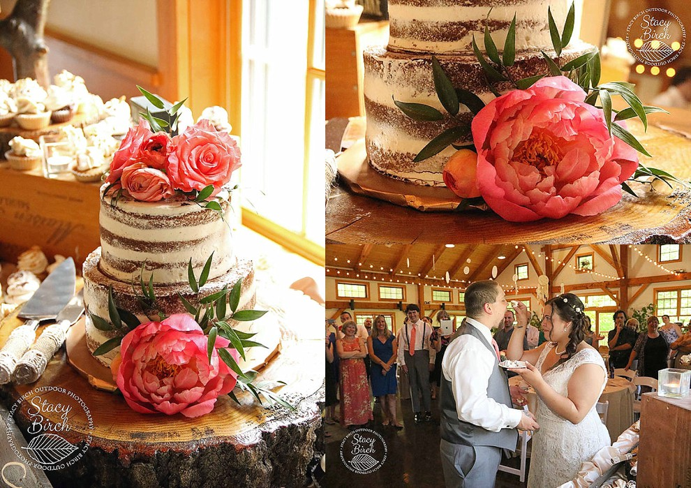 naked cake with pink peonies
