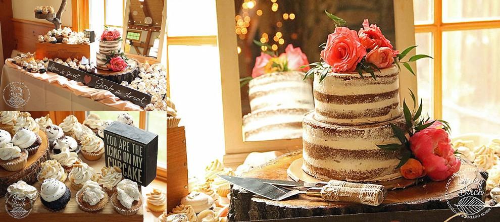 tiramisu cupcakes and naked wedding cake