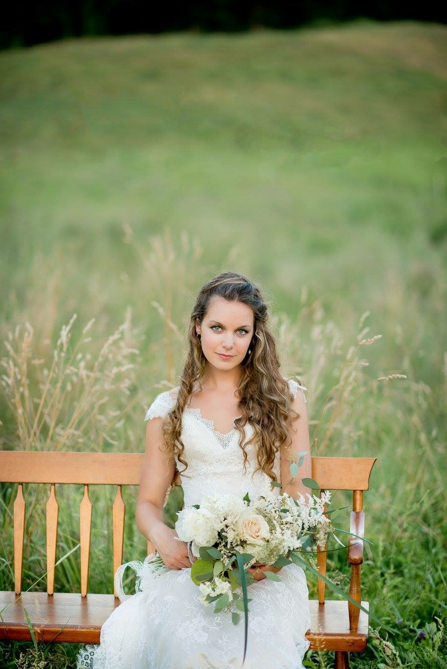 nh bride on a bench