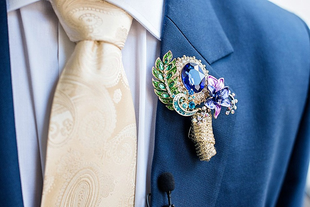 peacock broach boutonniere