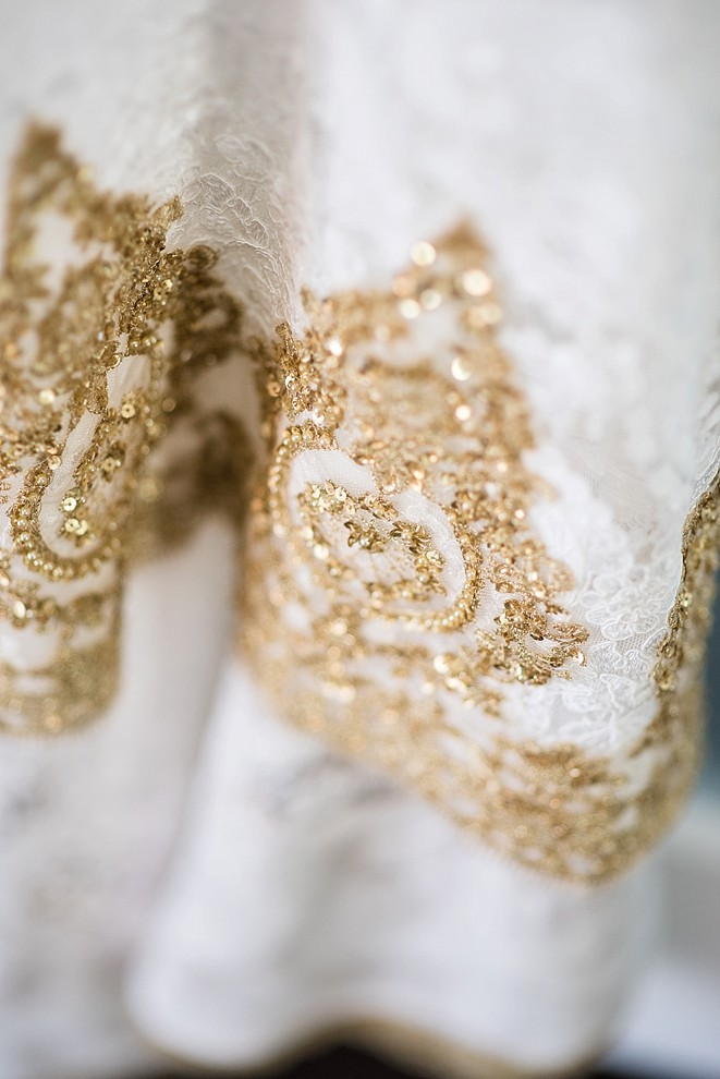 Gold and white lace detail dress