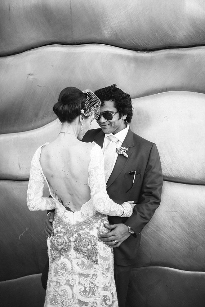 artistic photo of wedding couple