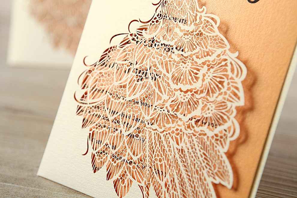 intricate overlay wedding invitation