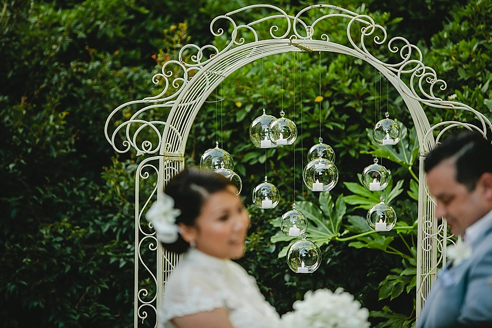 arbor with hanging globes