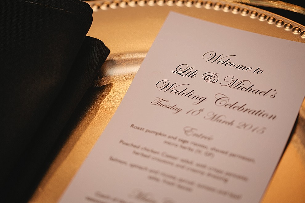 black napkin and gold charger inspiration