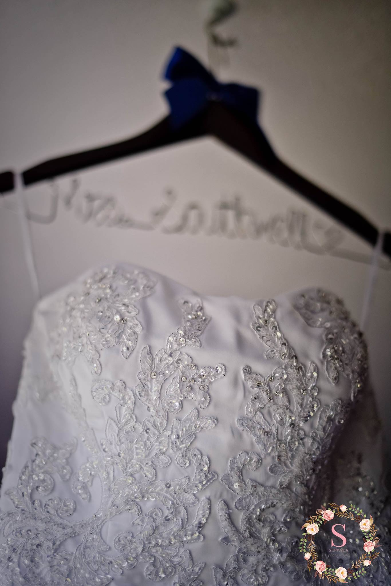 gown on last name hanger
