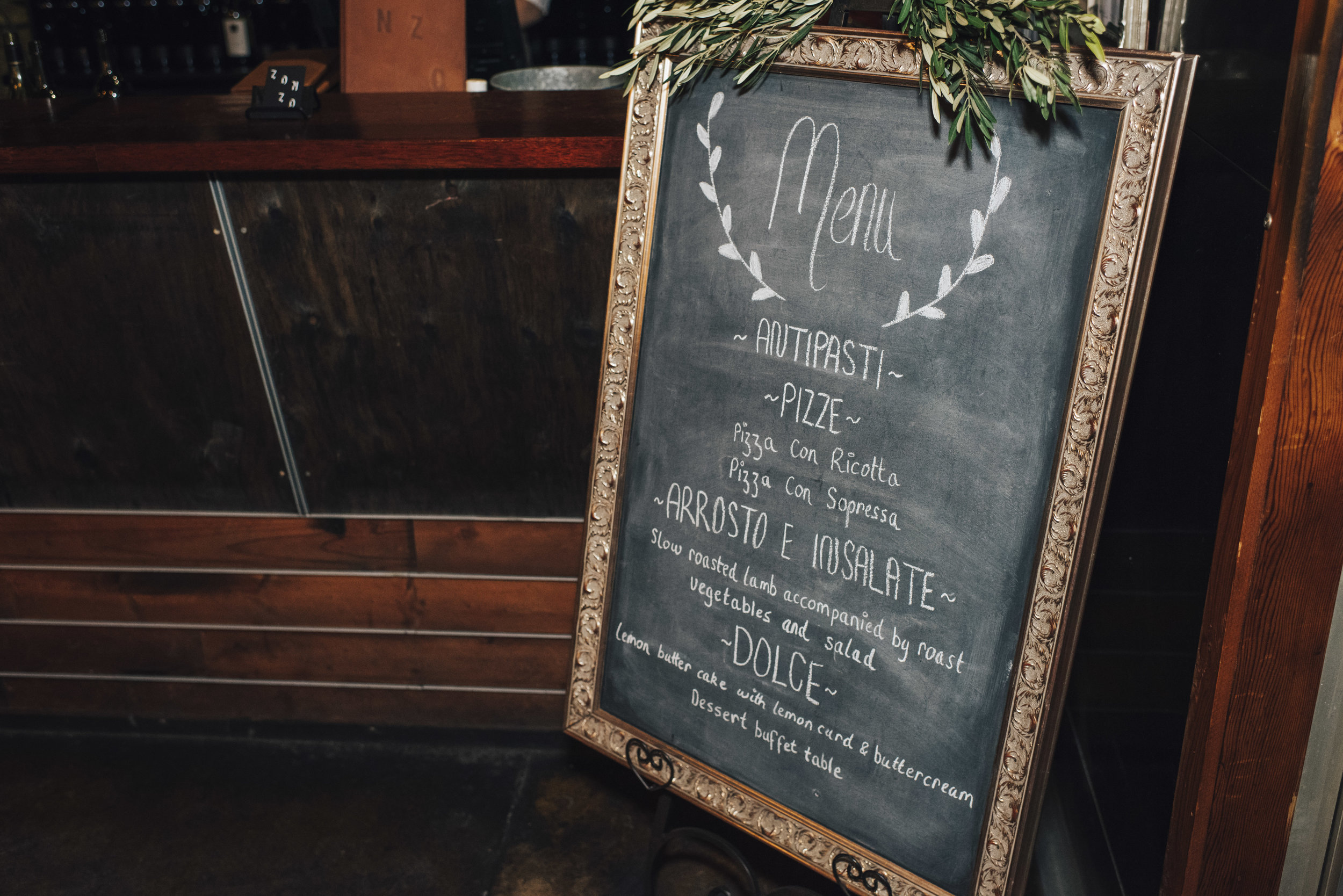 Chalkboard wedding menu sign