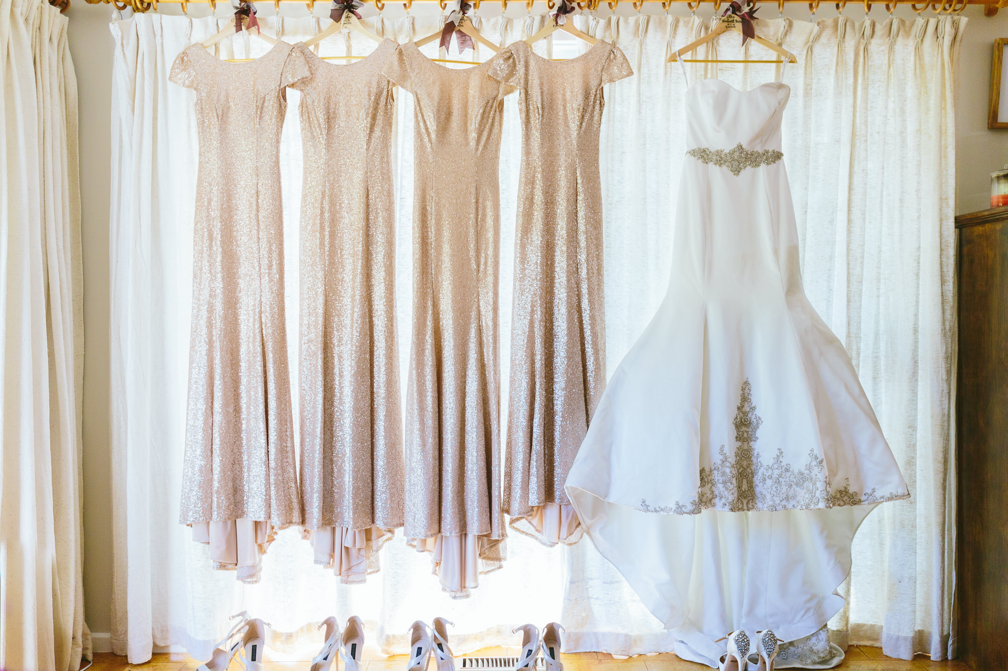 Champagne Sequin Bridesmaid Dresses