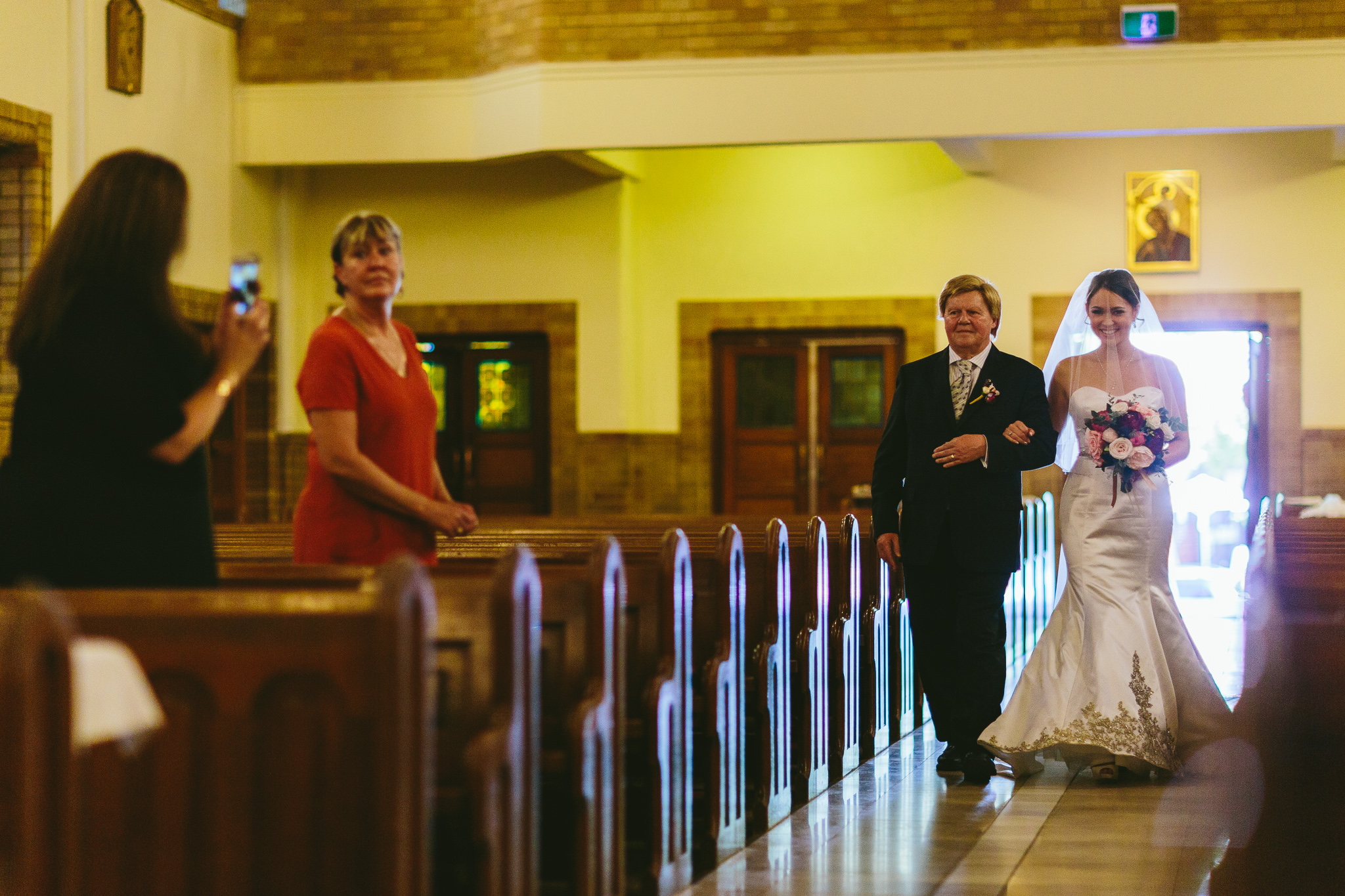 Bride Walking Down Aisle in St Christopher's Cathedral
