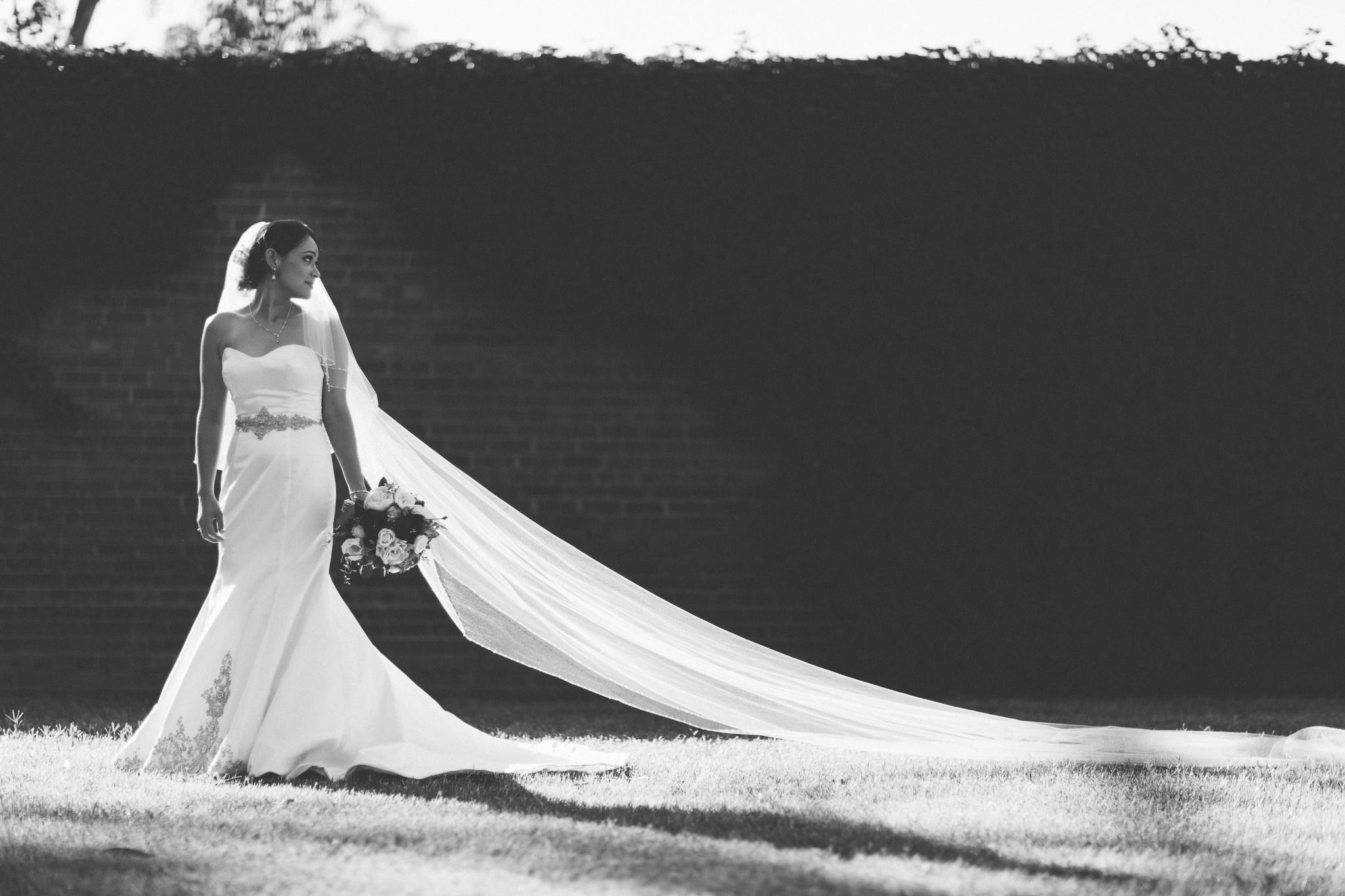 Long veil on bride