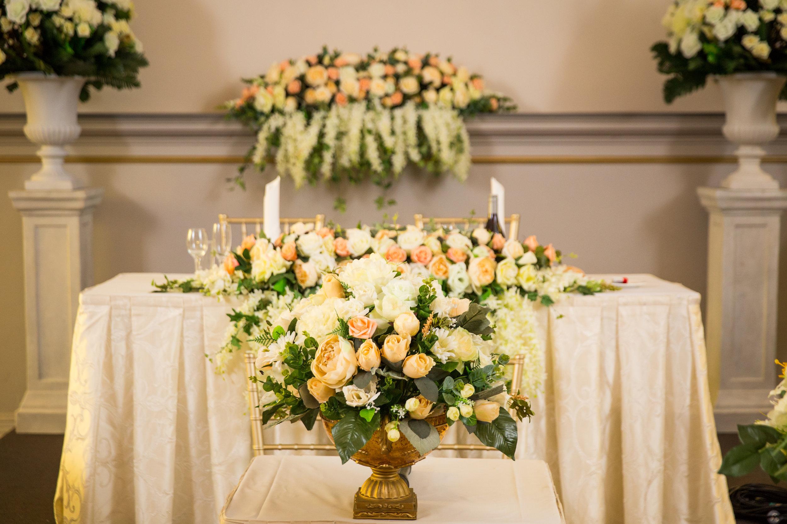 Sophisticated elegant peach wedding flowers