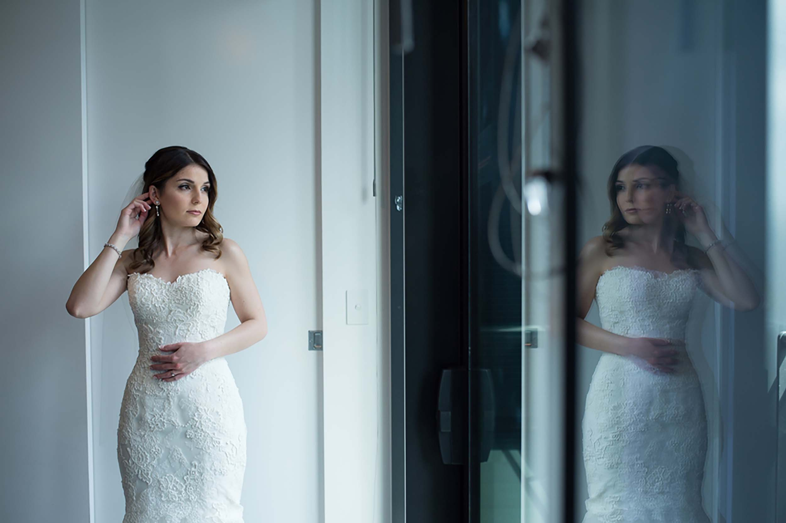Bride Reflection in Glass