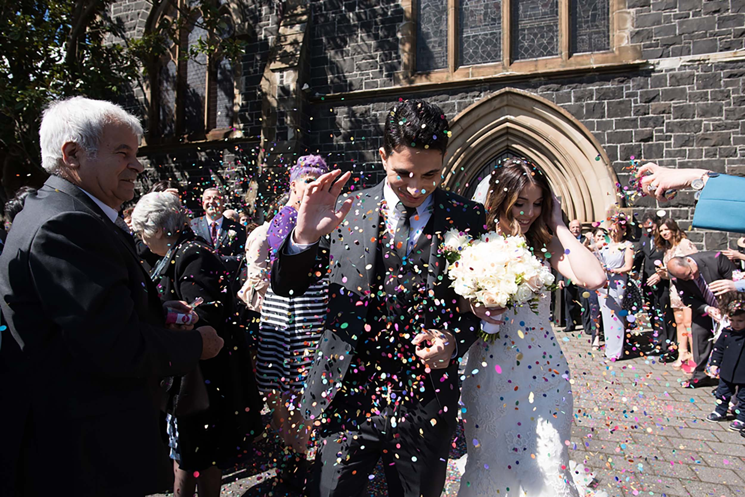 Confetti Thrown at Couple
