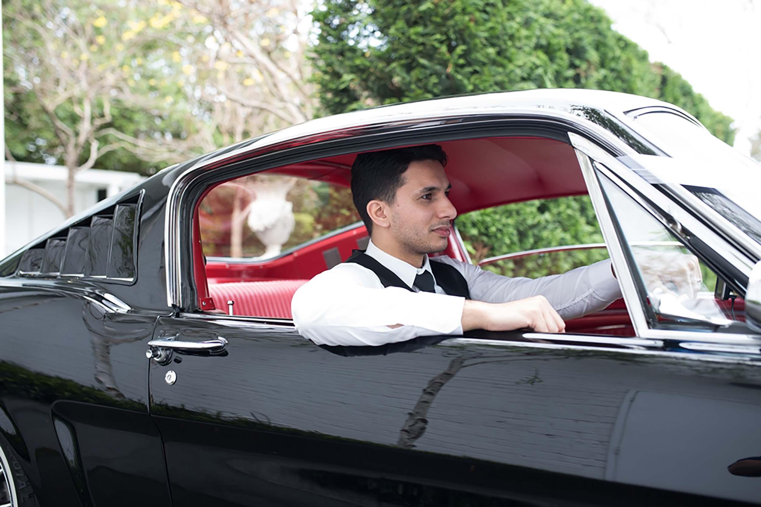 Groom in Getaway Car