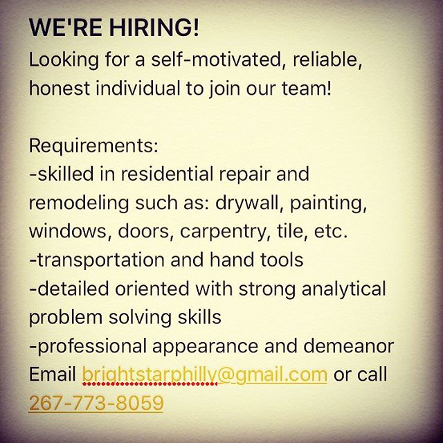 We have 2 immediate openings for skilled home improvement contractors! $15-$25/hr depending on skills/tools/transportation. Call 267-773-8059 to set up an interview today!
